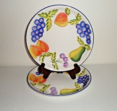 "(2) Artist's Touch Lunch Plates ""Orchard Jubilee Pattern"" by Heritage Mint 8.5"""
