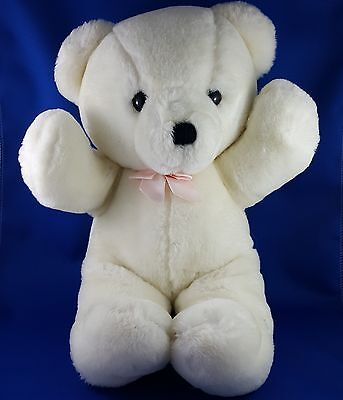 Vintage Dakin 1979 Cuddles White Teddy Bear Plush Pink Rose Bow Stuffed Animal