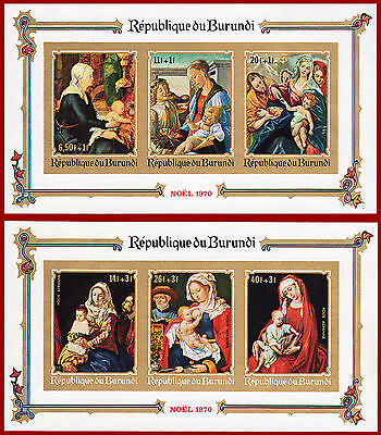 Burundi 1970 christmas IMPERFORATED sheets, paintings,Sc B48a, CB14a, Mi Bl 46-7