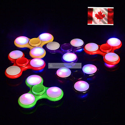 LED Fidget Hand Spinner Flash Lights EDC Toys Stress Relief Tri Bearing Kids CA