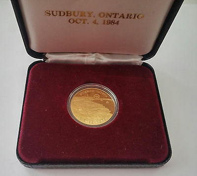 1984 Sudbury Ontario Science of the North Commemorative Medal Royal Visit Coin