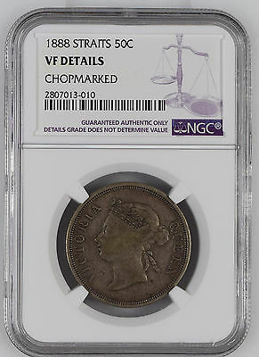 Straits Settlements 1888 50 Cent NGC VF Details Rare Chopmarked Silver Coin Half