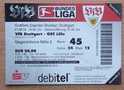Tickets Stuttgart Germany - Lille France 2002