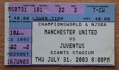 Tickets Manchester United England - Juventus Italy 2003 from USA