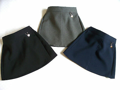 SCHOOL GIRLS UNIFORM PLAIN HEART SKIRT ELASTICATED IN BLACK/NAVY/GREY 2-13Yrs