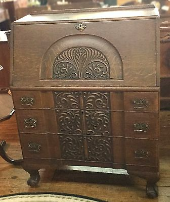 Antique 1930's Century American Made Heavily Carved Slant Front Desk