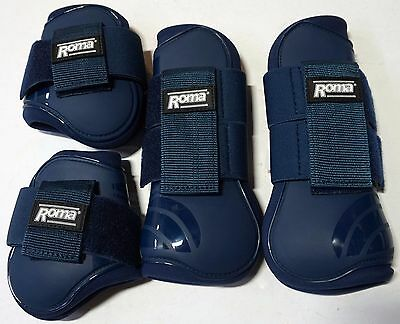 Roma Competitor Series 4 Set Horse Boots Tendon Fetlock Open Front White Navy