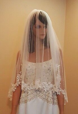 Bridal 2 Tier Elbow Length Bridal Veil With Gorgeous Lace & Metal Comb Attached