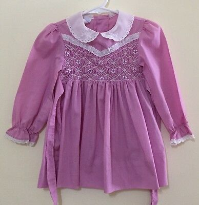 Vintage Polly Flinders Dress  3T Smocked Lavender Floral Lace Eyelet Spring