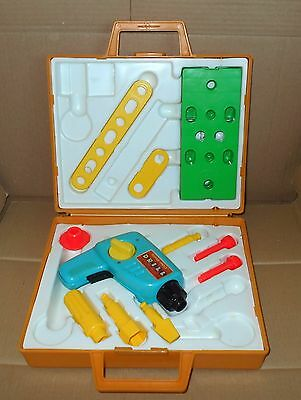 Vintage FISHER PRICE FP DRILL TOOL KIT BOX case KIDS TOY 1970/80's