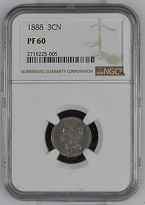 1888 3 CN NGC PF60 USA Proof Trime Cent Coin ONLY 4582 MINTED!