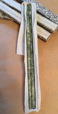 Vintage New Nos Set Pair Of Chinese Green Spinach Jade Chopsticks Rice Paper Box