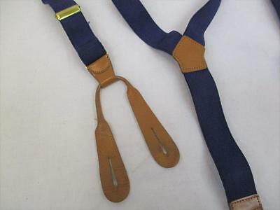 Vintage 70's Mens Button Braces Trouser Suspenders Navy Blue Tan Leather Retro