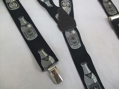 Vintage 70's Mens Braces Trouser Suspenders Navy Beer Bottle Pattern Party Retro