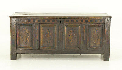 B695 Antique Carved Oak Trunk, 17th Century, Four Paneled Front