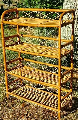 Bookcase book shelf bent bamboo rattan mid century tiki coastal tropical