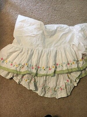 Pottery Barn Kids Daisy Garden Crib Skirt  HTF Green Gingham
