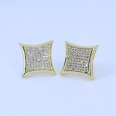 15mm Mens 18k yellow Gold Finish Real Silver Square Lab Diamond  Studs Earrings