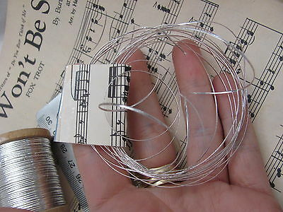 Rare Antique 1920s French Silver Flat Metal Metallic Thread *3 Yards Total*