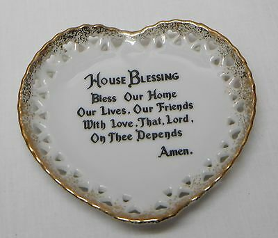 House Blessing Small Plate Wall Plaque Heart Shaped White Gold Accents Vintage