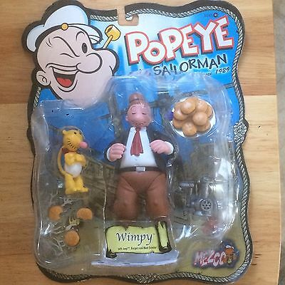 2001 Mezco Popeye The Sailorman Wimpy Figure With Jeep, Burgers, Meat Grinder