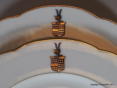 PAIR ARMORIAL PORCELAIN HUYN FRANCE HUNGARY Family Coat Arms Crest