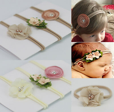 3pcs/Set Baby Girls Skinny Soft Satin Chiffon Flower Elastic Headband Hair Band