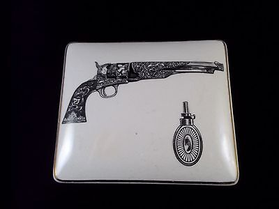 Lancaster & Sandland Staffordshire Pottery Trinket Box with Picture of Revolver