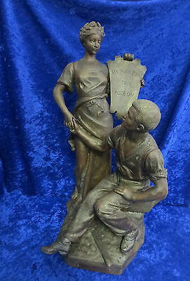 Large AJ SCOTTE Antique FRENCH BRONZE Figure LA MUTUALITE 20""