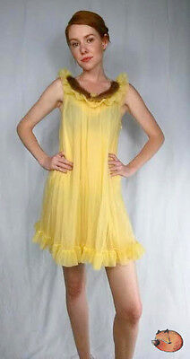 Vintage Yellow Double Layer NYLON Chiffon Mink Fur Lingerie Negligee Nightgown L