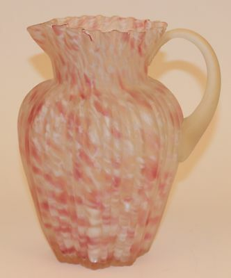 Northwood Ribbed Pillar Satin Spatter Glass Tall Water Pitcher