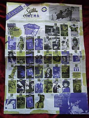 """Scala Cinema Fold Out Poster Programme March 1991 23"""" x 16.5"""" Cult Cinema"""