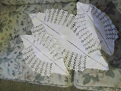"""3 piece crocheted doily set - no damage to the work - largest is  23"""" x 12"""""""