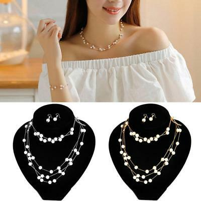 Silver & Gold Chain White Pearl Necklace Earring Bracelet Fashion Jewelry Sets