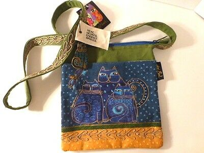 "Laurel Burch Cool Blue Cat Trio, 10 1/2"" x 9 3/4"" Top Zip, Strap Bag,  NWT"