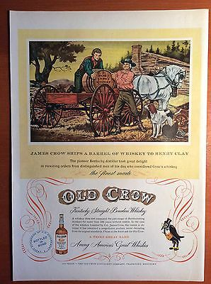 1951 OLD CROW Bourbon Rye Whiskey Print Ad - Crow Ships Barrel to Henry Clay