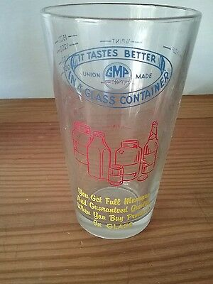 "UNION MADE-Vintage adv Measuring Glass  ""It Tastes Better In A Glass Container"""