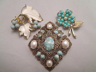 Sarah Coventry Signed Vintage Brooch Lot Turquoise Cabochon Enamel Faux Pearl 3