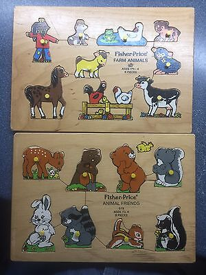 Vintage Fisher Price Wooden Puzzles Farm Animals And Animal Friends