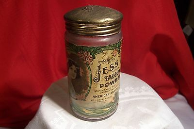 Vintage Jess Talcum Powder Jar- W.h.brown & Bros.co. Balrimore,md.