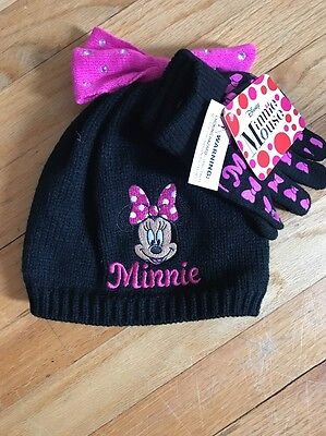 Baby Girls Disney Minnie Mouse Hat & Glove Set Size 3-6 Months Pink And Black