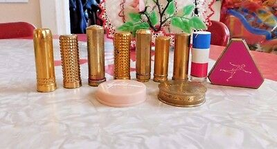 VINTAGE LOT 11 PIECES 1940's MAKE UP COSMETICS LIPSTICKS AND COMPACTS MAX FACTOR