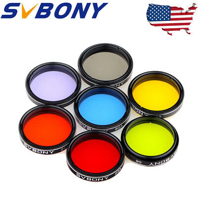 """US 1.25"""" Moon Filter+CPL Filter+5 Colorful Filter Set for Telescope Eyepiece New"""