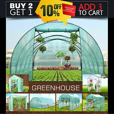 Walk In Greenhouse Garden Green House Plant Shed PE PVC Cover Arch Roof Tunnel