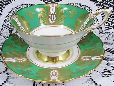 Royal Stafford Fancy Floral Designs Green Tea Cup And Saucer