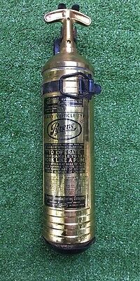 Vintage Brass Pyrene 1 Qt. Fire Extinguisher With Bracket!!!wow!!!