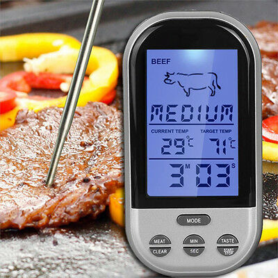 LCD Wireless Remote Kitchen Oven Cooking Food BBQ Grill Smoker Meat Thermometer