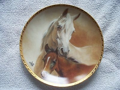 """Arabian Mare And Foal Fred Stone  6 1/2""""  Mini Collector Horse Plate"""