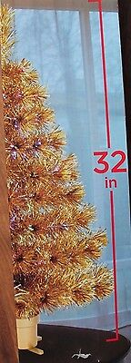 """32"""" Gold Fiber Optic Christmas Tree Color Changing Multi Color"""