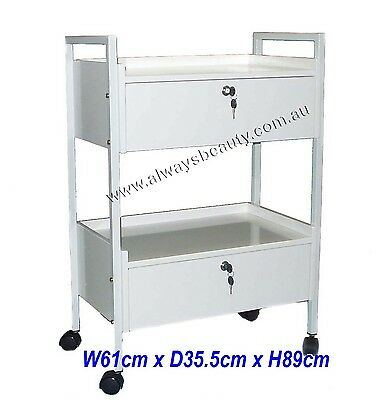 Deluxe Trolley With 2 Lockable Drawer Beauty Clinic Salon Furniture Heavy Duty
